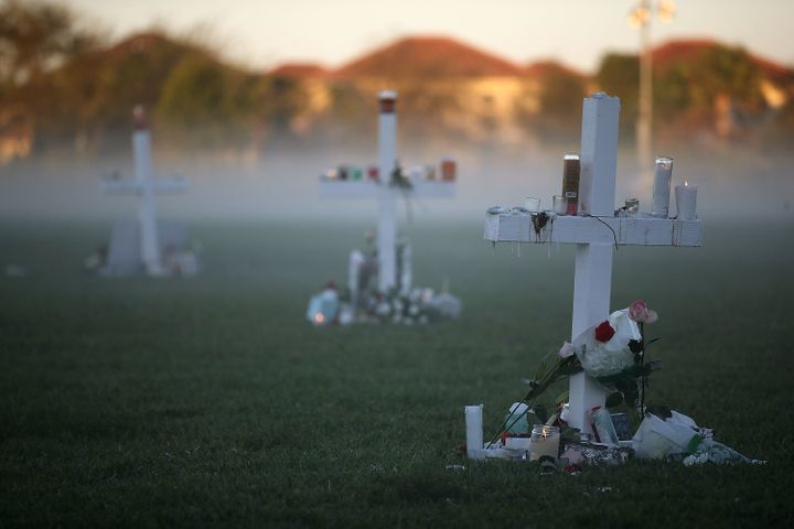 Crosses for victims of the mass shooting at Marjory Stoneman Douglas High School, in Parkland, Florida.