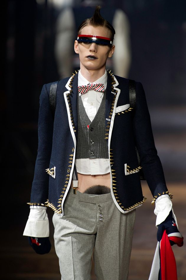 A model walks the runway during the Thom Browne Menswear Autumn/Winter 2013 show in January