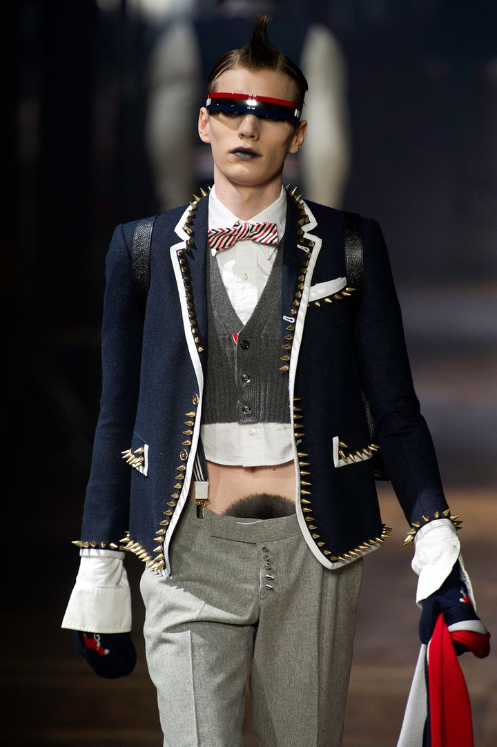 A model walks the runway during the Thom Browne Menswear Autumn/Winter 2013 show in January 2012.