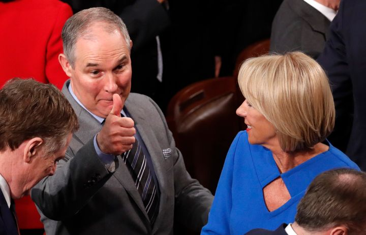 EPA Administrator Scott Pruitt gives a thumbs up after President Donald Trump delivered his State of the Union address on Jan