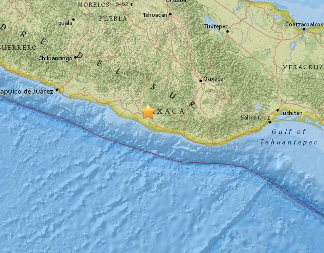 The earthquake struck Oaxaca, Mexico, as seen in the U.S. Geological Survey map above.