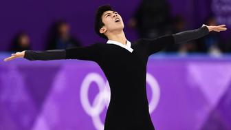USA's Nathan Chen competes in the men's single skating free skating of the figure skating event during the Pyeongchang 2018 Winter Olympic Games at the Gangneung Ice Arena in Gangneung on February 17, 2018. / AFP PHOTO / ARIS MESSINIS        (Photo credit should read ARIS MESSINIS/AFP/Getty Images)