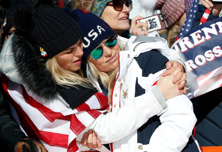 Lindsey Vonn reacts at the 2018 Winter Olmypics in the Jeongseon Alpine Centre in Pyeongchang, South Korea.
