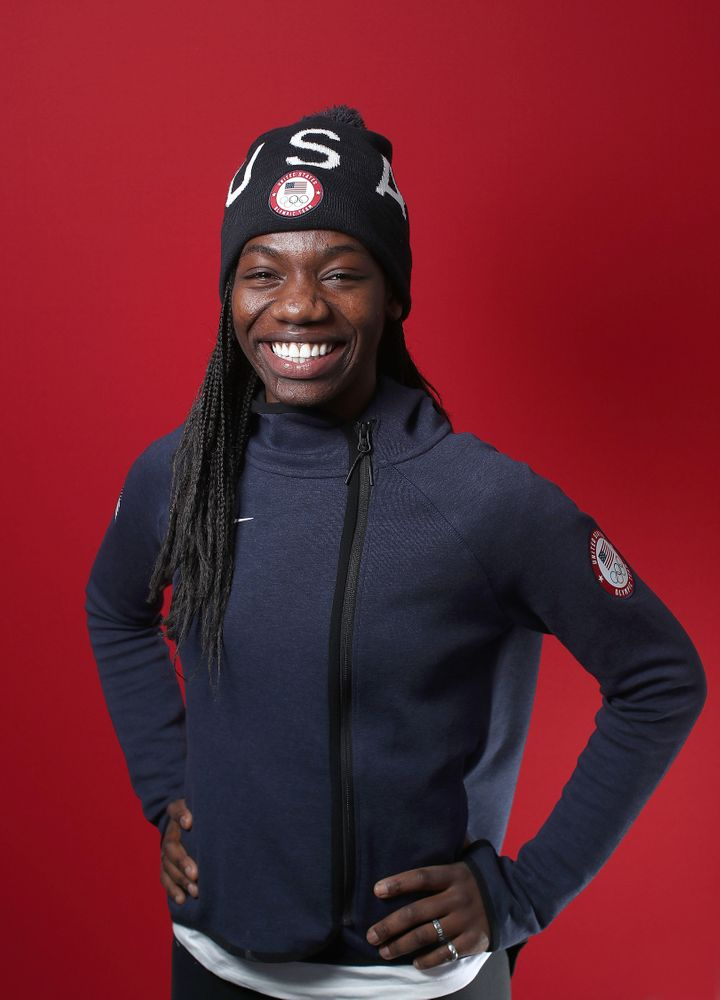 Biney, pictured on Feb. 14, still has plenty to smile about after her first Winter Olympics.