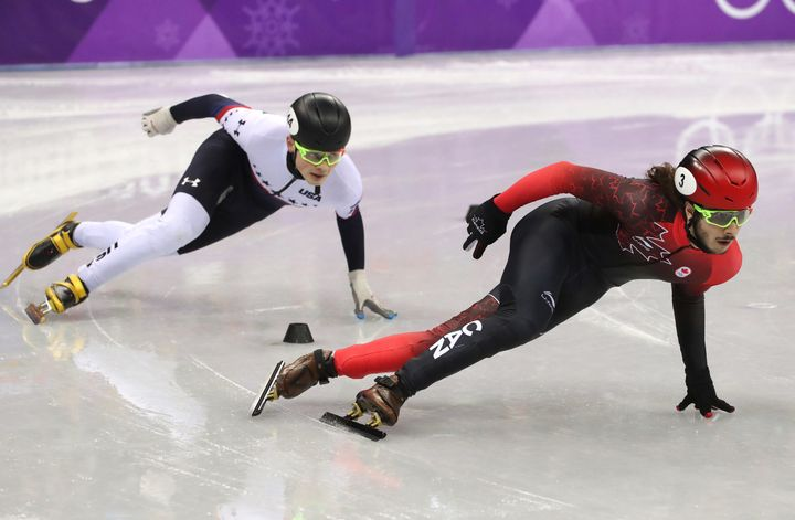John-Henry Krueger of the U.S. held on for second place against Samuel Girard of Canada in the 1,000-meter short-track event.