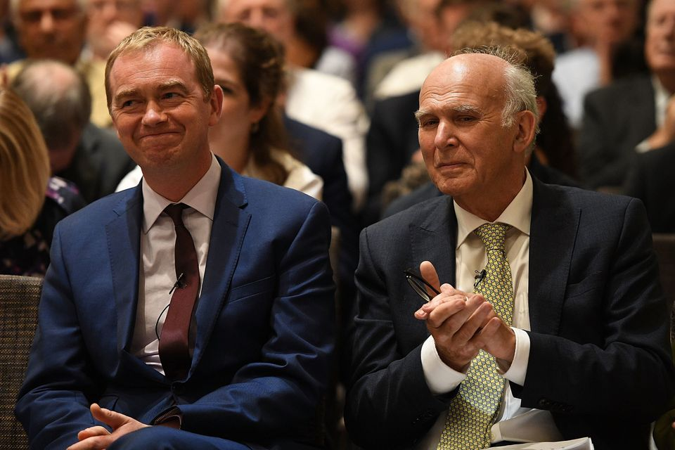Tim Farron and Vince Cable together as the party leadership changed