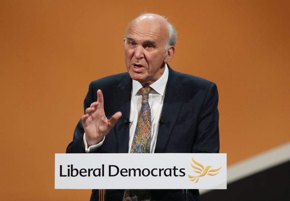 Vince Cable makes his keynote speech at the Lib Dem conference in Bournemouth last