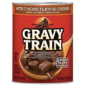 Gravy Train13.2 oz. with T-Bone Flavor Chunks is one of the varieties J.M. Smucker is