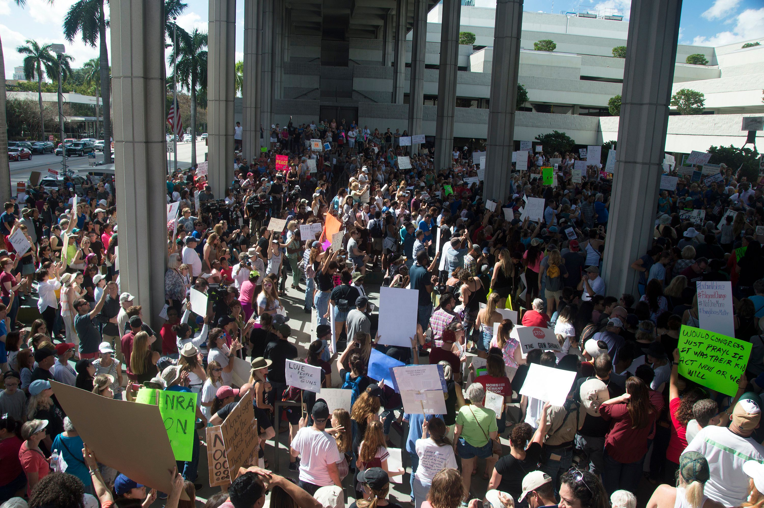 Protesters gathered at the federal courthouse in Fort Lauderdale, Florida, on Feb. 17, 2018, to demand gun control.