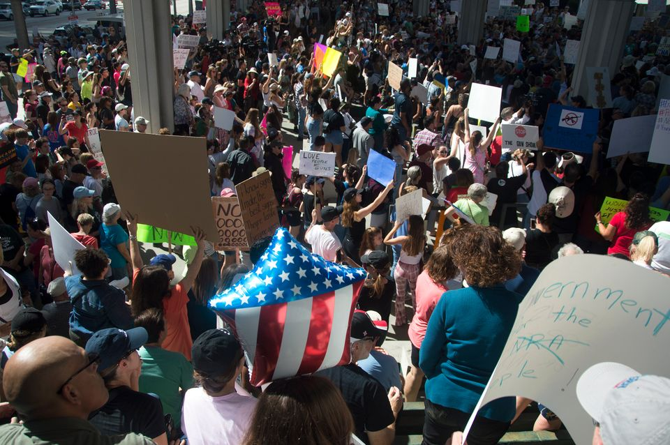 People gathered at the Fort Lauderdale federal courthouse on Feb. 17, 2018, to call for gun control in the wake of the deadly