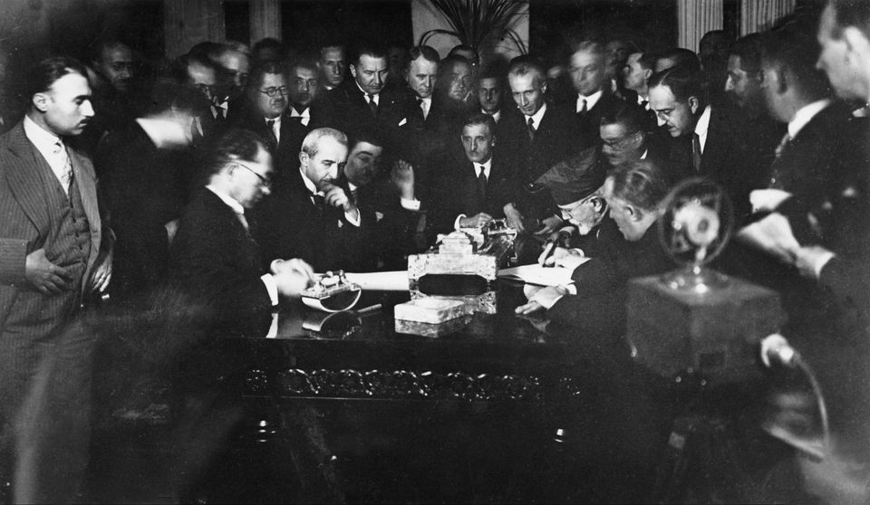 Signing Of The Treaty Of Lausanne Between Greece And Turkey In 1923Caption:SWITZERLAND - JUNE 30:...
