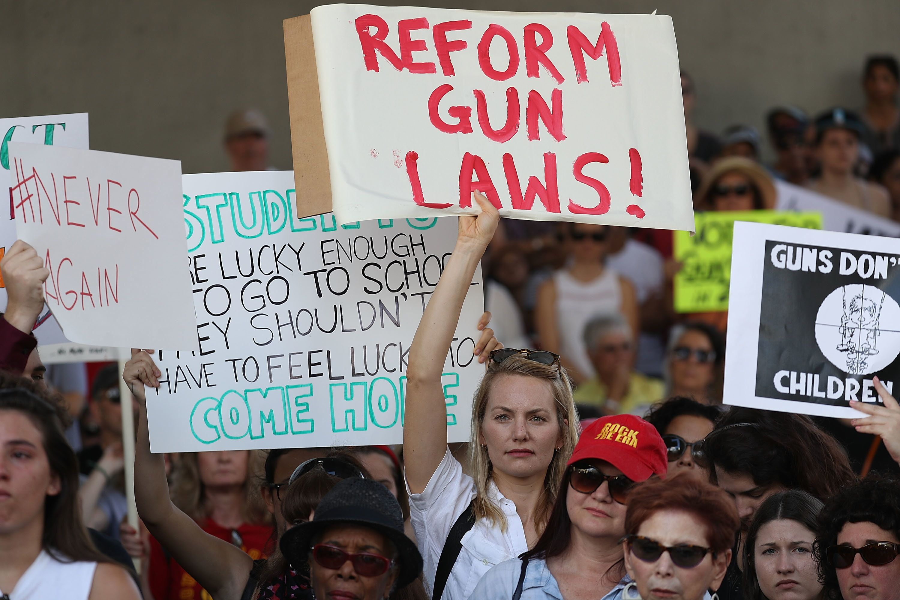 Hundreds gathered to protest against guns on the steps of the Broward County Federal courthouse on February 17, 2018 in Fort