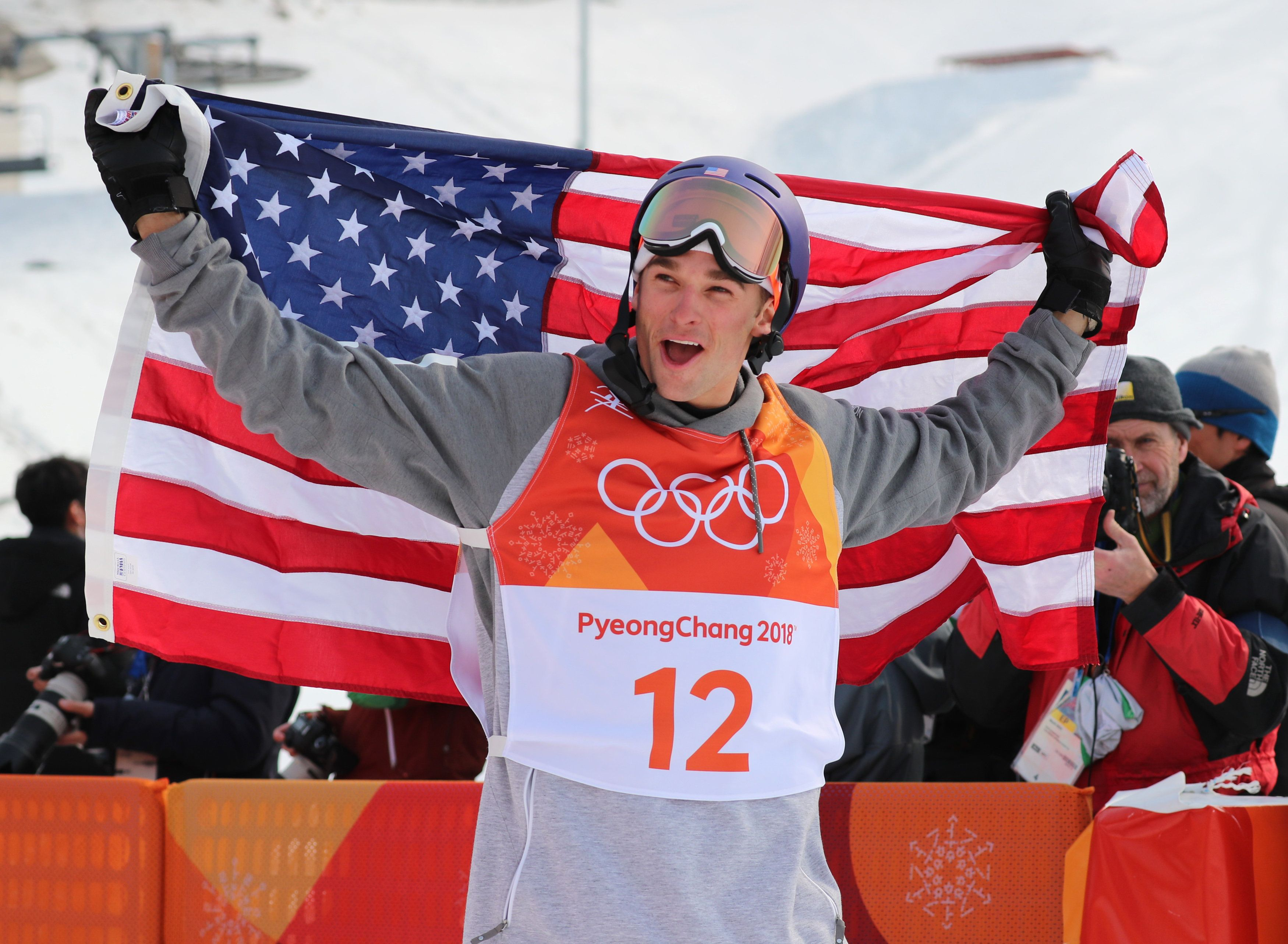 Freestyle Skiing - Pyeongchang 2018 Winter Olympics - Men's Ski Slopestyle Finals - Phoenix Snow Park - Pyeongchang, South Korea - February 18, 2018 - Silver medallist Nick Goepper of the U.S. celebrates. REUTERS/Mike Blake