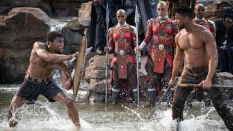Marvel Studios' BLACK PANTHER..L to R: T'Challa/Black Panther (Chadwick Boseman) and Erik Killmonger (Michael B. Jordan)..Photo: Matt Kennedy..©Marvel Studios 2018