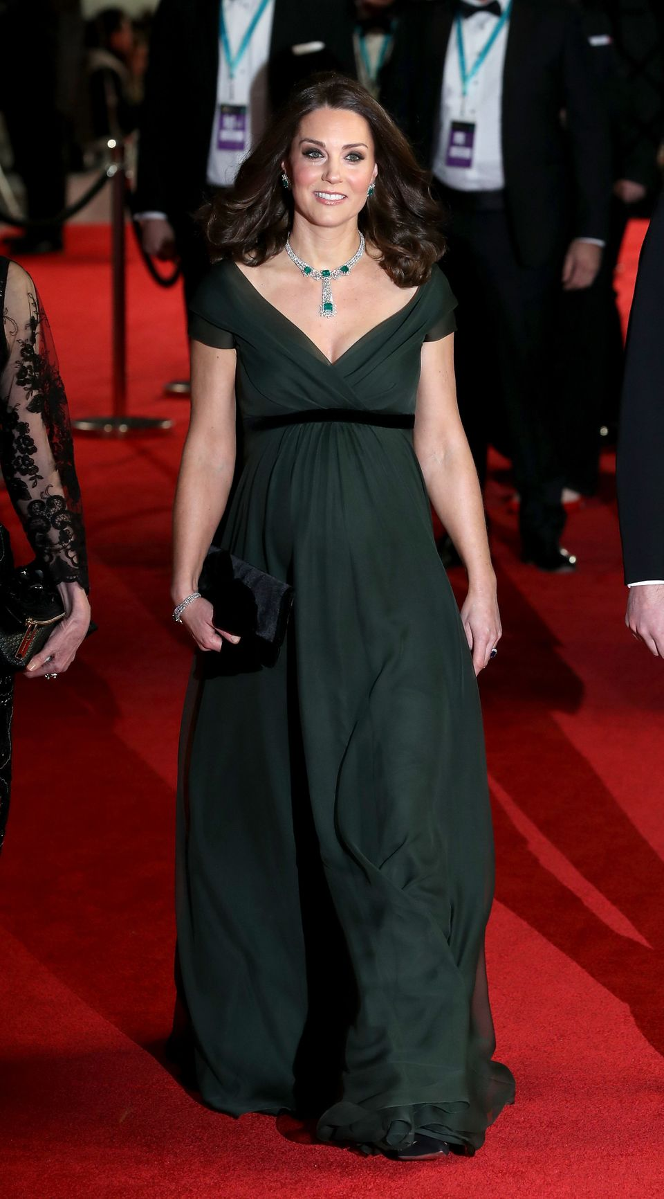 Baftas 2018: The Duchess Of Cambridge Stands Out In Green Gown Amid Black Dress