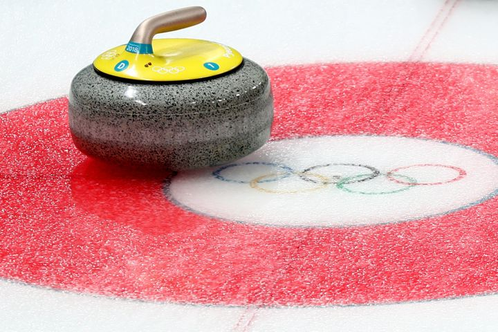 A detail of a stone during the Curling Women's Round Robin Session 4.