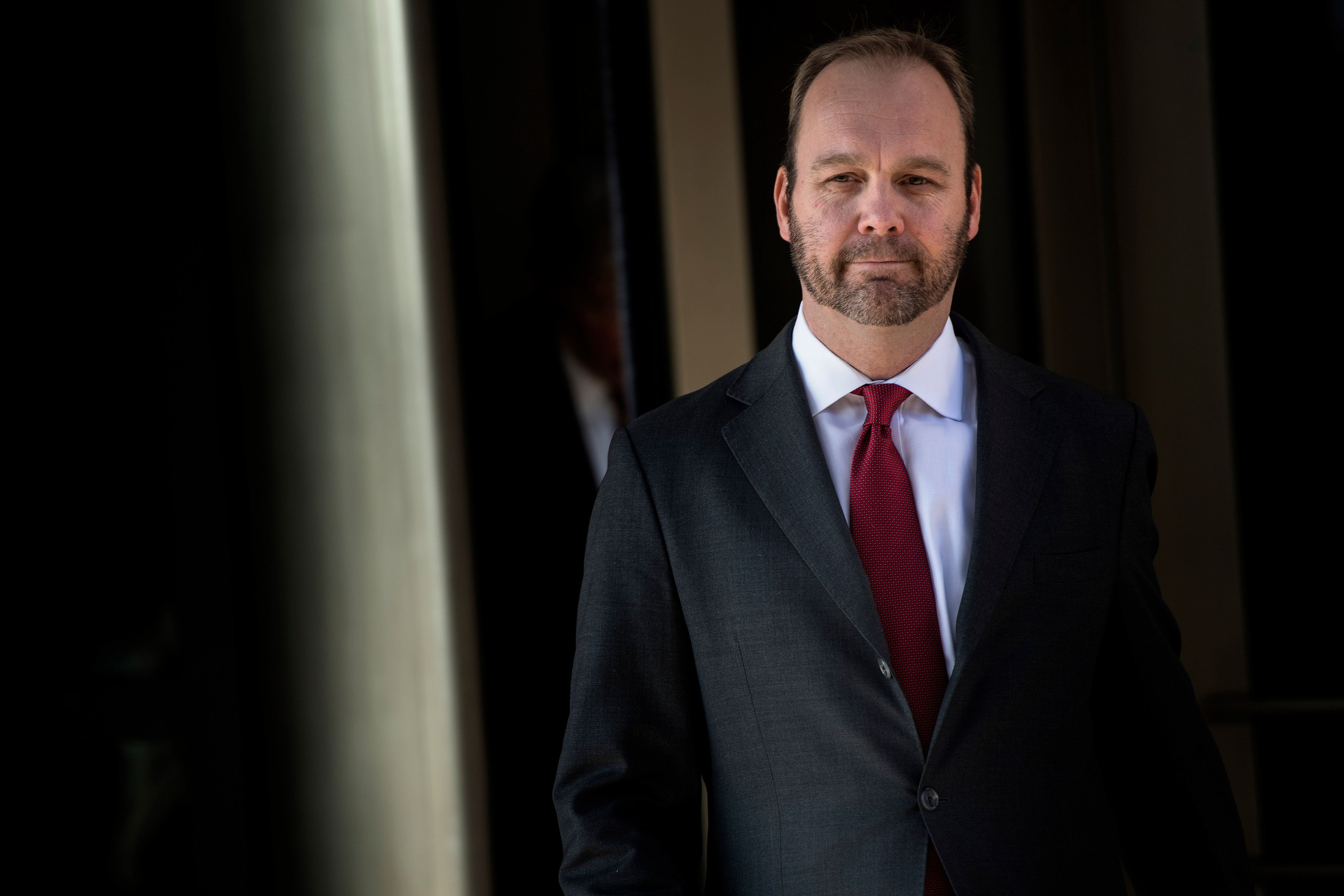 Former Trump campaign official Rick Gates leaves Federal Court on December 11, 2017 in Washington, DC. In October, Trump's one-time campaign chairman Paul Manafort and his deputy Rick Gates were arrested on money laundering and tax-related charges. / AFP PHOTO / Brendan Smialowski        (Photo credit should read BRENDAN SMIALOWSKI/AFP/Getty Images)