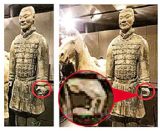 미국 필라델피아 프랭클린 인스티튜트 박물관에 전시중인 병마용 엄지손가락이 부러진 모습. 부러진 엄지손가락은 지난해 말 이 박물관에서 열린 파티에 참석한 20대의 집에서 발견됐다. 명보