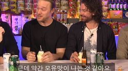 한국 음료를 마신 노르웨이 스키 선수들의