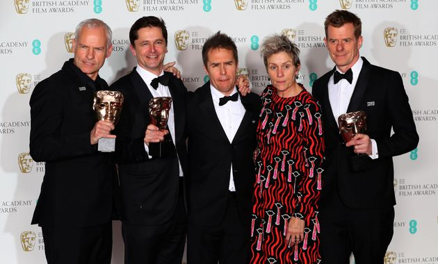 (From left) Martin McDonagh, Peter Czernin, Sam Rockwell, Frances McDormand and Graham Broadbent...