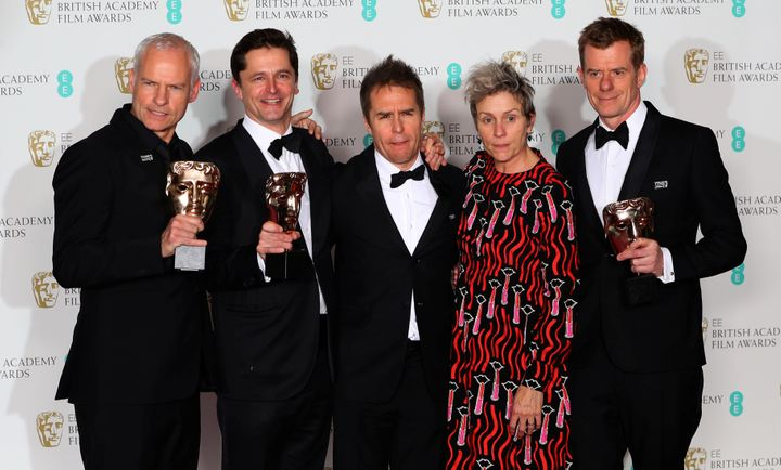 (From left) Martin McDonagh, Peter Czernin, Sam Rockwell, Frances McDormand and Graham Broadbent pose with their awards