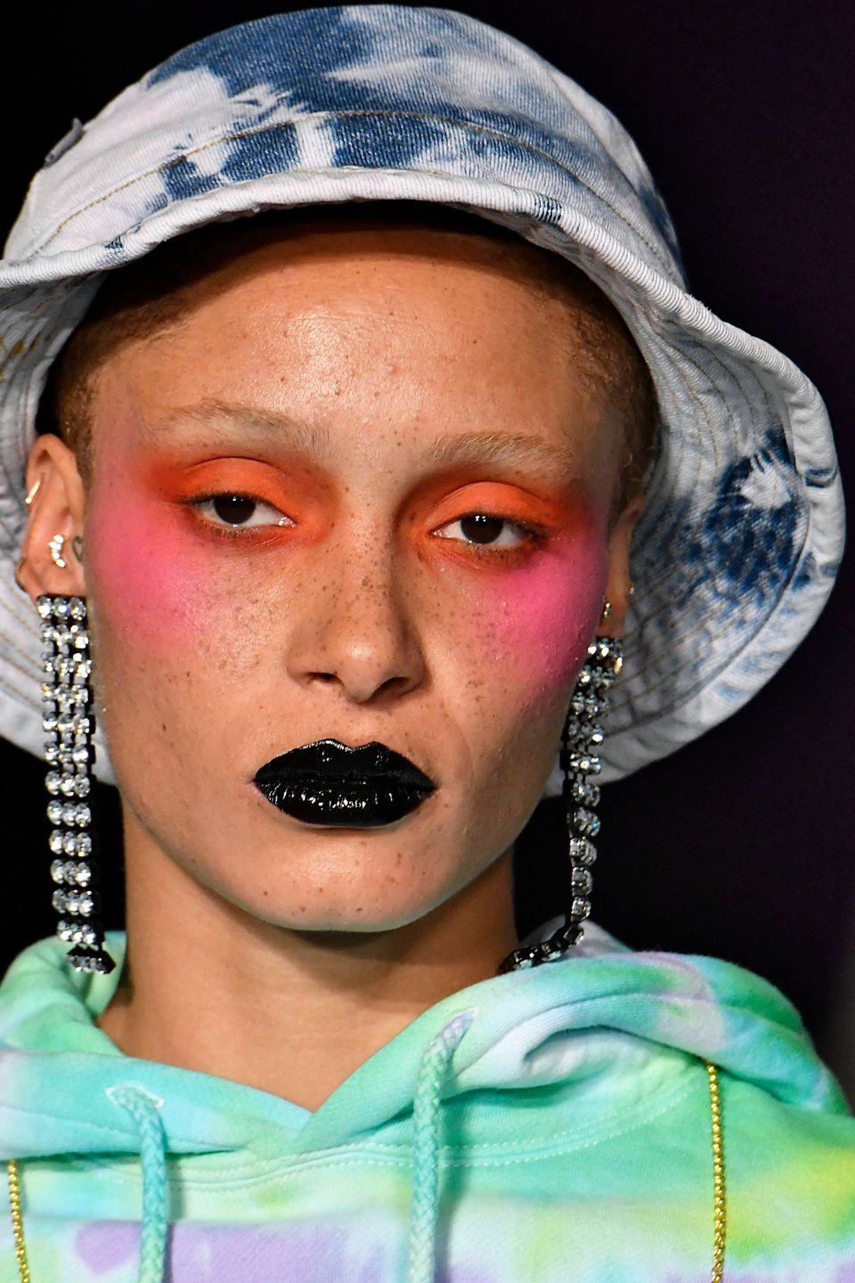 Adwoa Aboahlooked stunning in this bright pink blush for Ashley Williams AW18 catwalk, proving...