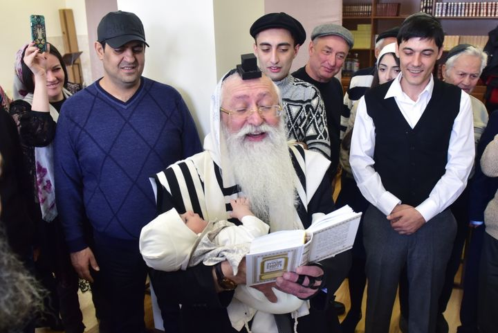 A Jewish religious male circumcision ceremony performed by the Stavropol regional Jewish community at the Pyatigorsk synagogu