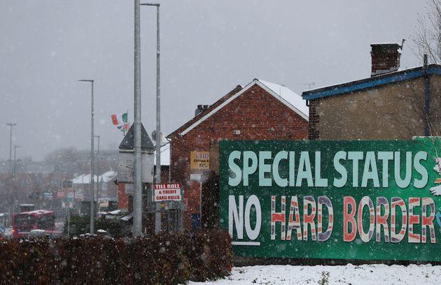 A Sinn Fein billboard calling for 'No Hard Border' on display in