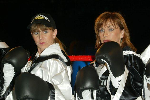 Tonya and Paula Jones at a weigh-in in