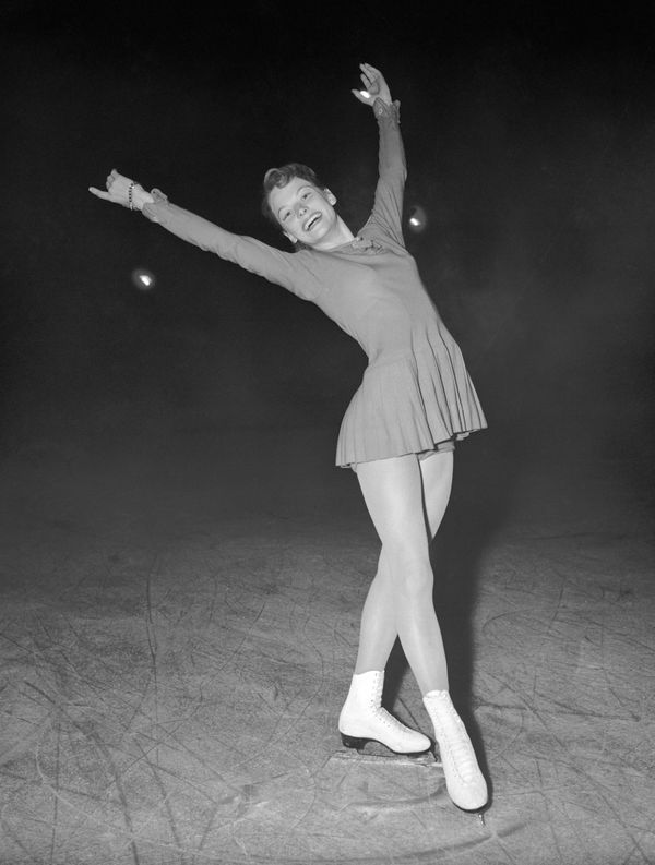 American skater Heiss at the 1956 Winter Olympics in Cortina d'Ampezzo, Italy.