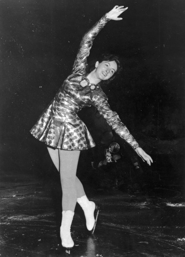 Altwegg, from Great Britain, after winning a gold medal in the Women's Figure Skating Competition in the 1952 Winter Olympics