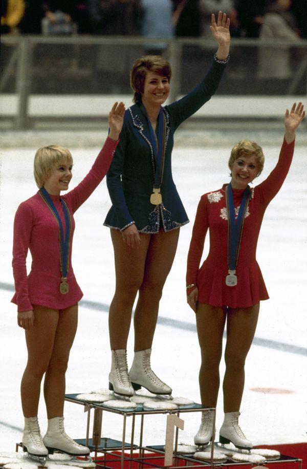 The three medal winners— Lynn of the U.S., Schuba of Austria, Magnussen of Canada— in ladies singles&