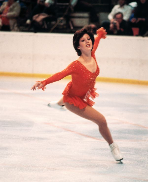 The American skater performing during the 1980 Winter Olympics in Lake Placid, New York.