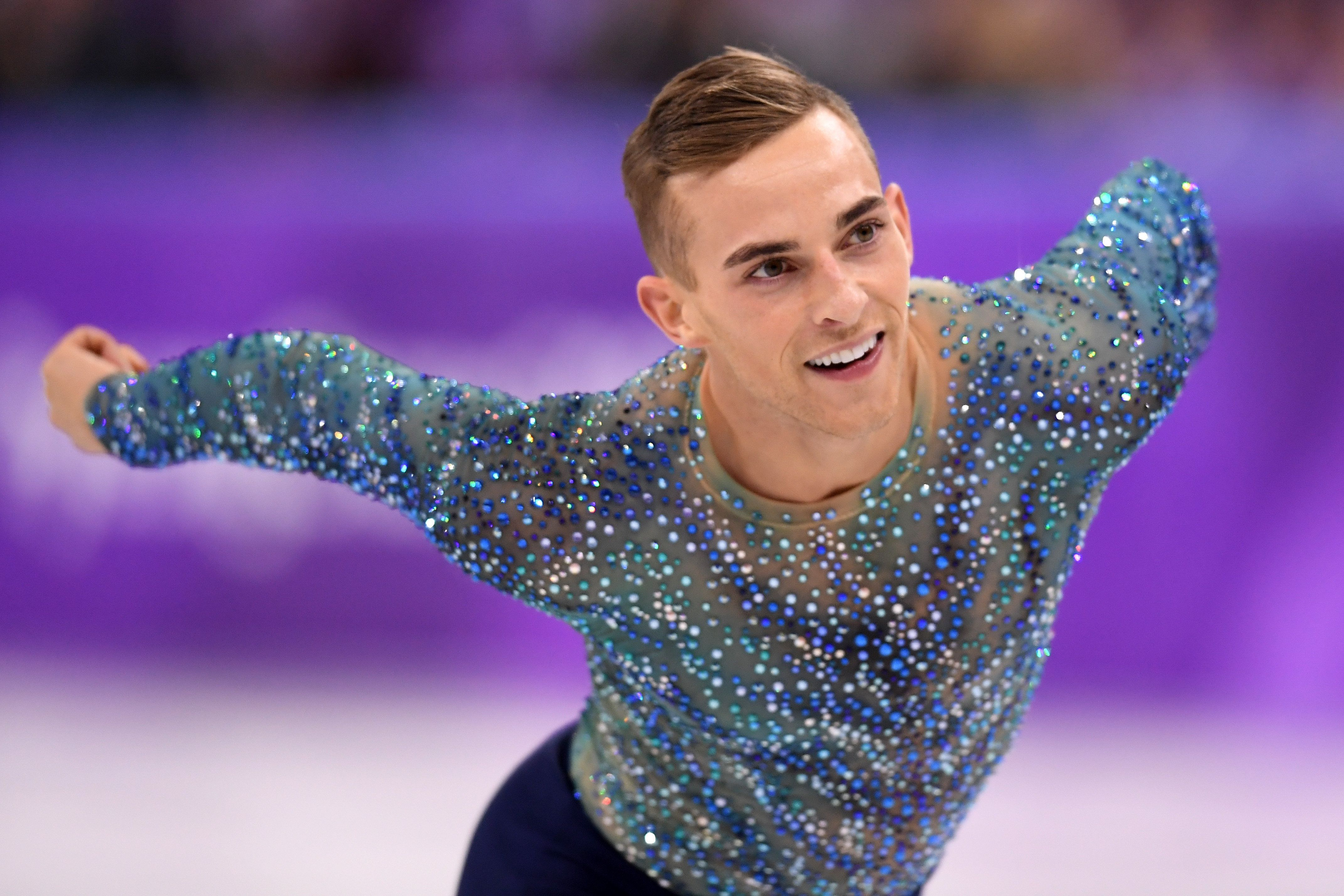 GANGNEUNG, SOUTH KOREA - FEBRUARY 17:  Adam Rippon of the United States competes during the Men's Single Free Program on day eight of the PyeongChang 2018 Winter Olympic Games  at Gangneung Ice Arena on February 17, 2018 in Gangneung, South Korea.  (Photo by Harry How/Getty Images)