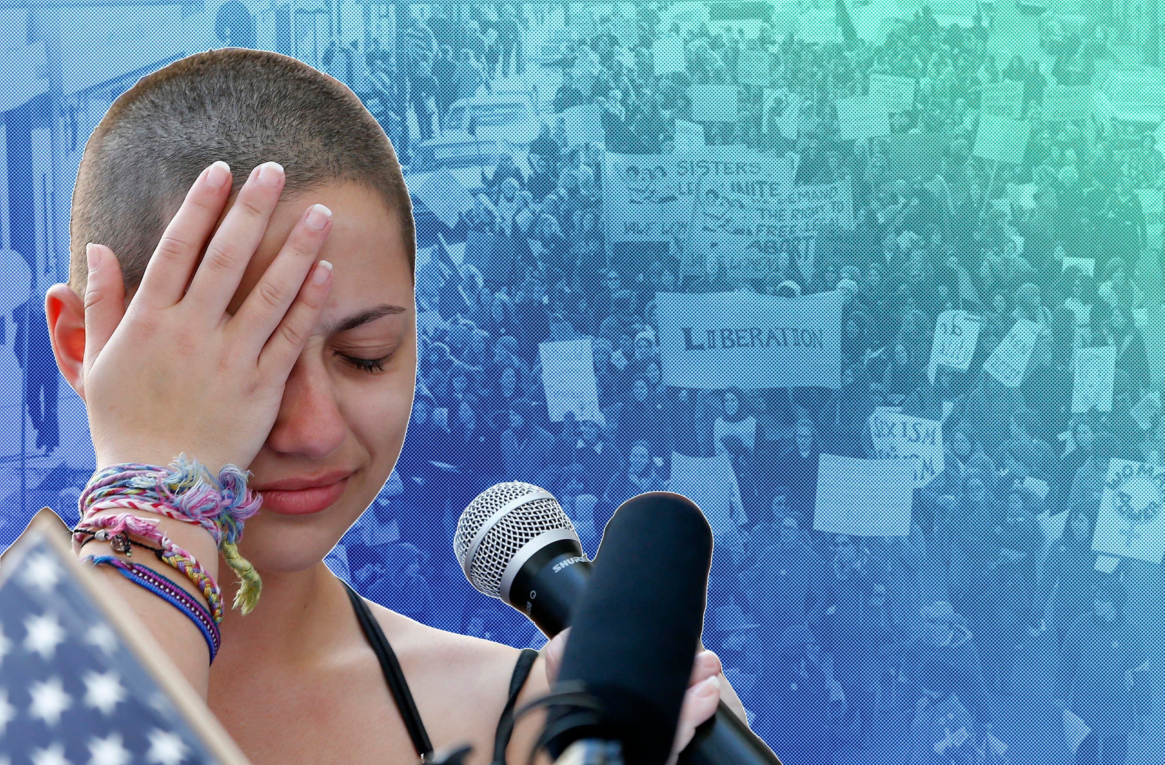 """TOPSHOT - Marjory Stoneman Douglas High School student Emma Gonzalez reacts during her speech at a rally for gun control at the Broward County Federal Courthouse in Fort Lauderdale, Florida on February 17, 2018.A student survivor of the Parkland school shooting called out US President Donald Trump on Saturday over his ties to the powerful National Rifle Association, in a poignant address to an anti-gun rally in Florida. """"To every politician taking donations from the NRA, shame on you!"""" said Emma Gonzalez, assailing Trump over the multi-million-dollar support his campaign received from the gun lobby -- and prompting the crowd to chant in turn: """"Shame on you!""""  / AFP PHOTO / RHONA WISE        (Photo credit should read RHONA WISE/AFP/Getty Images)"""