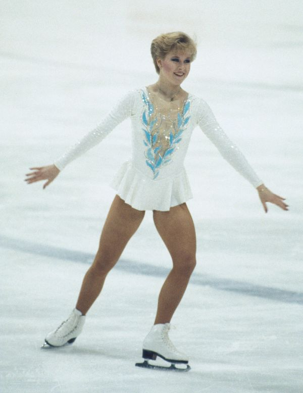 The American athlete competing in the Winter Olympics at the Zetra Ice Stadium in Sarajevo, Yugoslavia, February 1984. Sumner