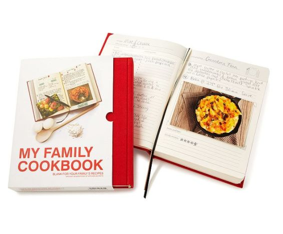"Get it <a href=""https://www.uncommongoods.com/product/my-family-cookbook"" target=""_blank"">here</a>."