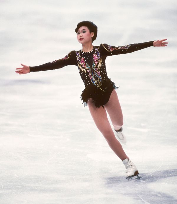 Lu, of China, in the free skate portion of the ladies singles figure skating competitionat the 1994 Winter Olympics on