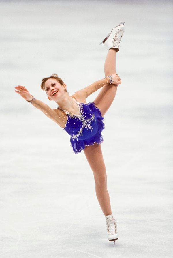 The American athlete skating in the free skateduring the ladies singles figure skatingevent of the 1998 Winter Ol