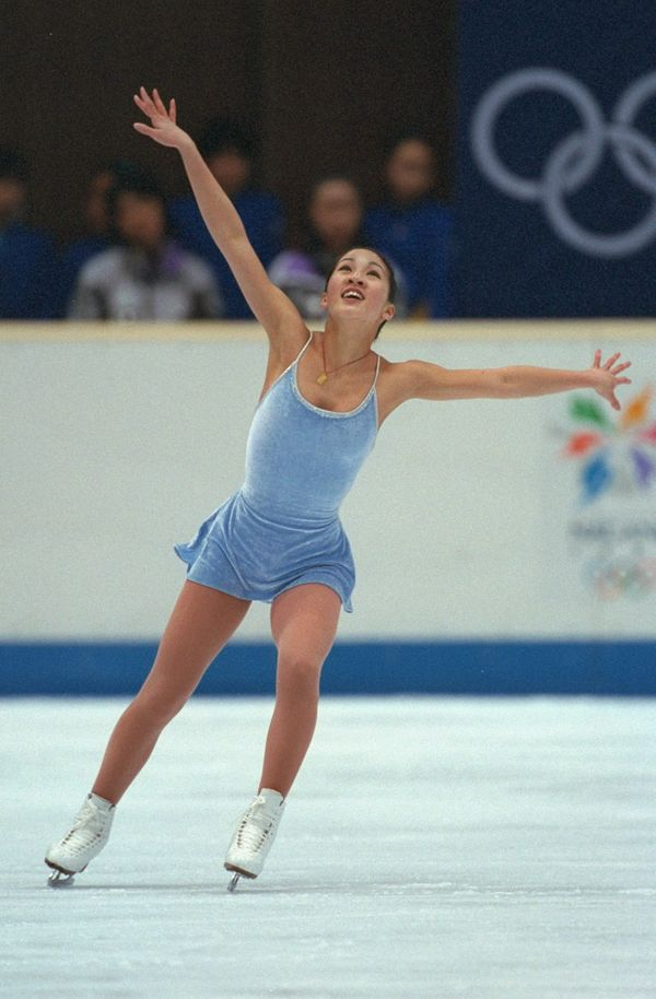 The American skater performing her routine during the free skate at White Ring Arena during the 1998 Winter Olympic Games in