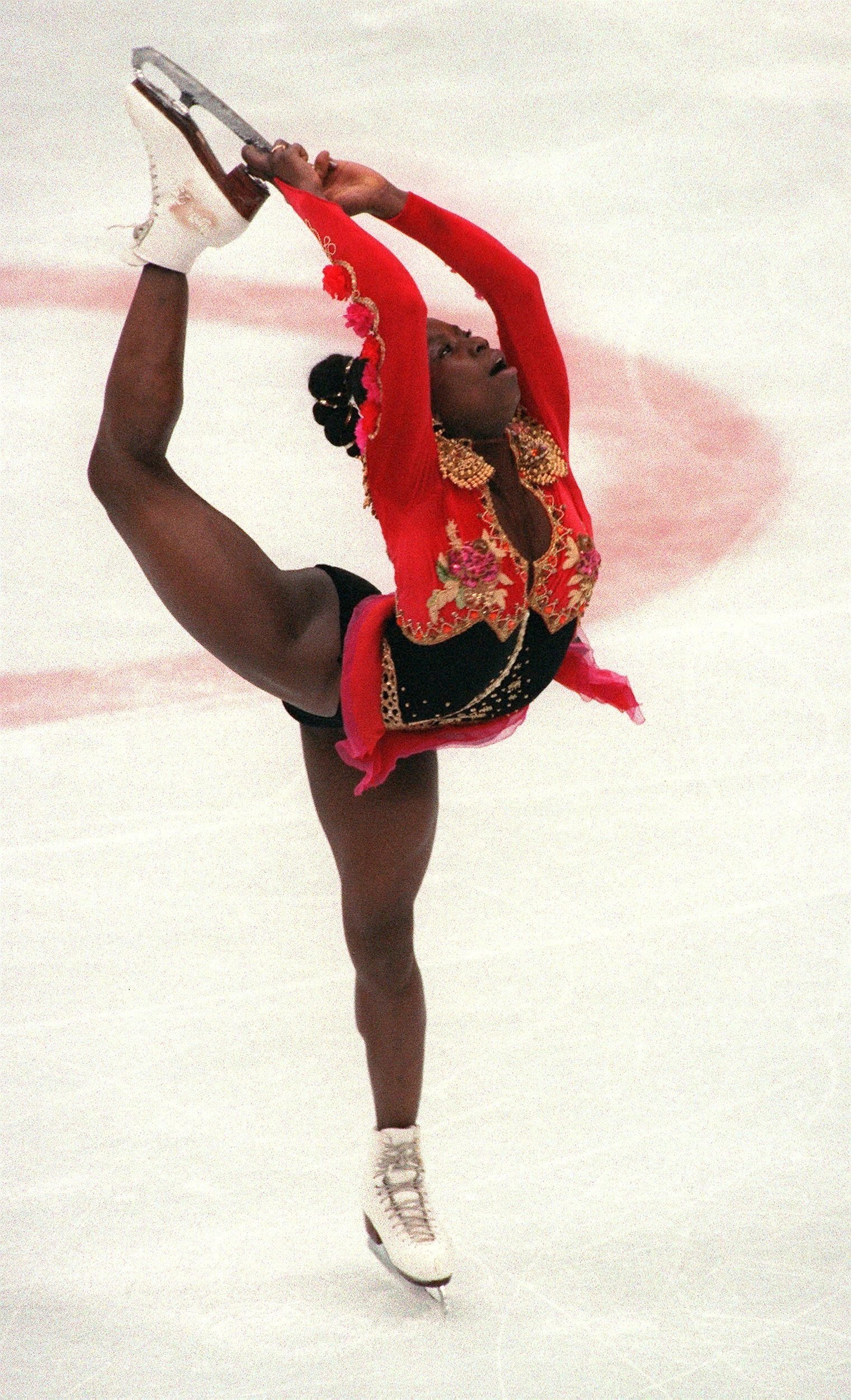 The French skater performingher free program during the Winter Olympics Feb. 21, 1992, in Albertville. Bonaly finished