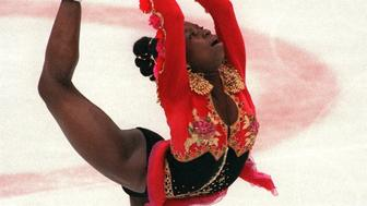 ALBERTVILLE, FRANCE:  French figure skater Surya Bonaly performs her free program during the Winter Olympic Games 21 February 1992 in Albertville. Bonaly finished in fifth place. AFP PHOTO/ERIC FEFERBERG (Photo credit should read ERIC FEFERBERG/AFP/Getty Images)