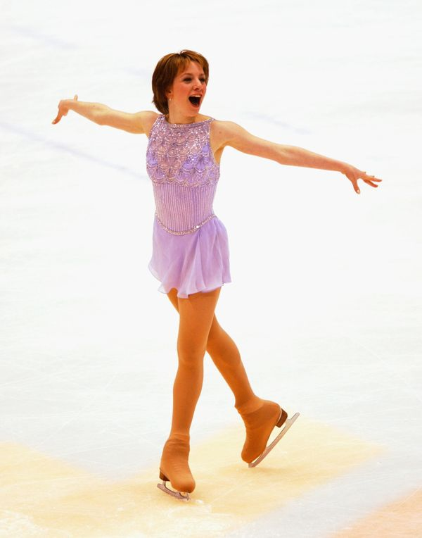 The American skater competingin the ladies free program during the Salt Lake City Winter Olympic Games at the Salt Lake
