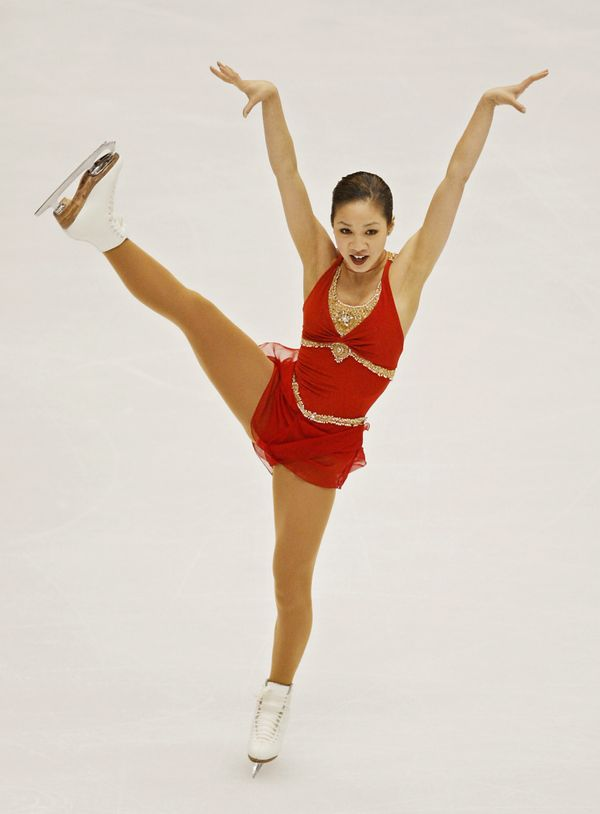 Performing during the free program of the ladies singles figure skating event at the Olympic Ice Center, Feb. 21, 2002, durin