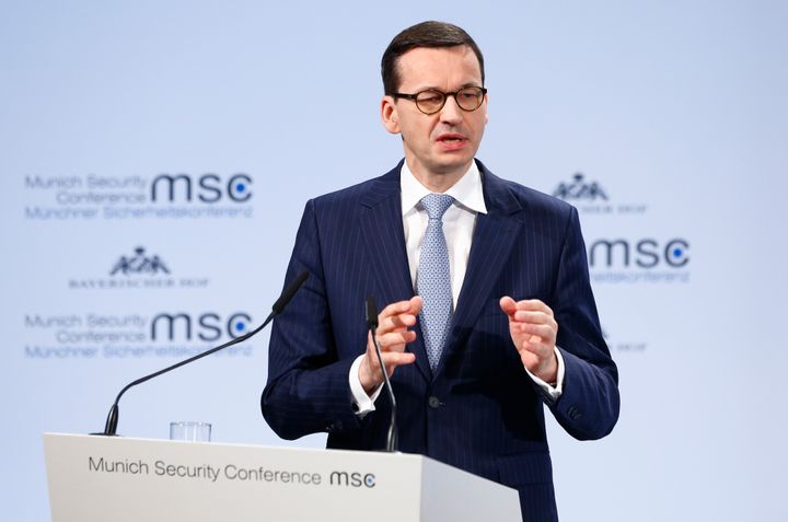 Polish Prime Minister Mateusz Morawiecki made his controversial comment at an international conference on security in Munich, Germany, Feb. 17, 2018.