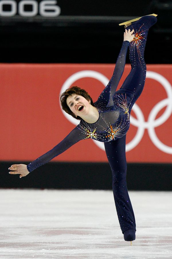Performingduring the short program of the ladies singles figure skating event on Feb. 21, 2006, at at the 2006 Winter O