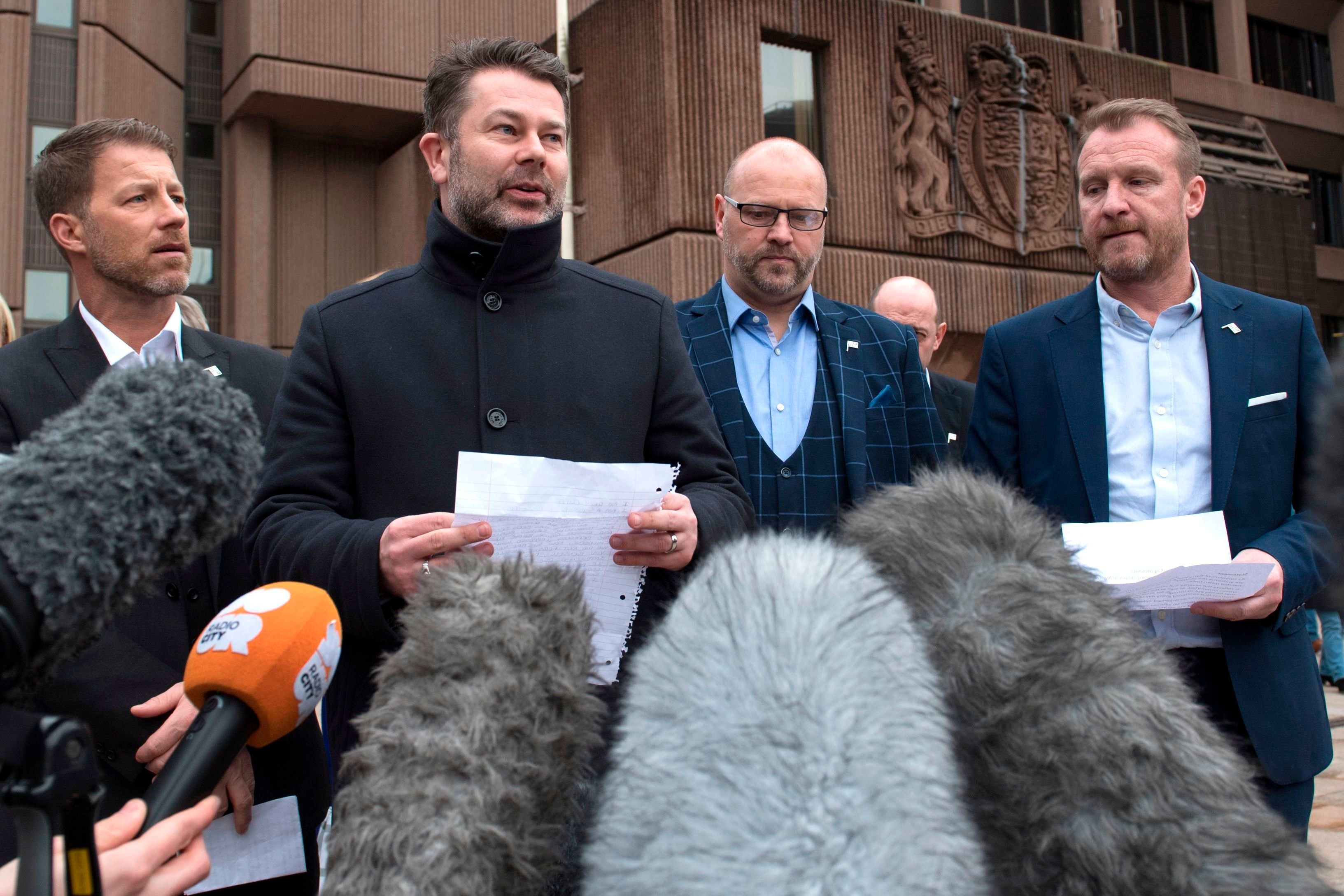 <strong>Abuse survivors of former football coach Barry Bennell - Steve Walters, Gary Cliffe, Chris Unsworth and Micky Fallon - speak outside Liverpool Crown Court.</strong>