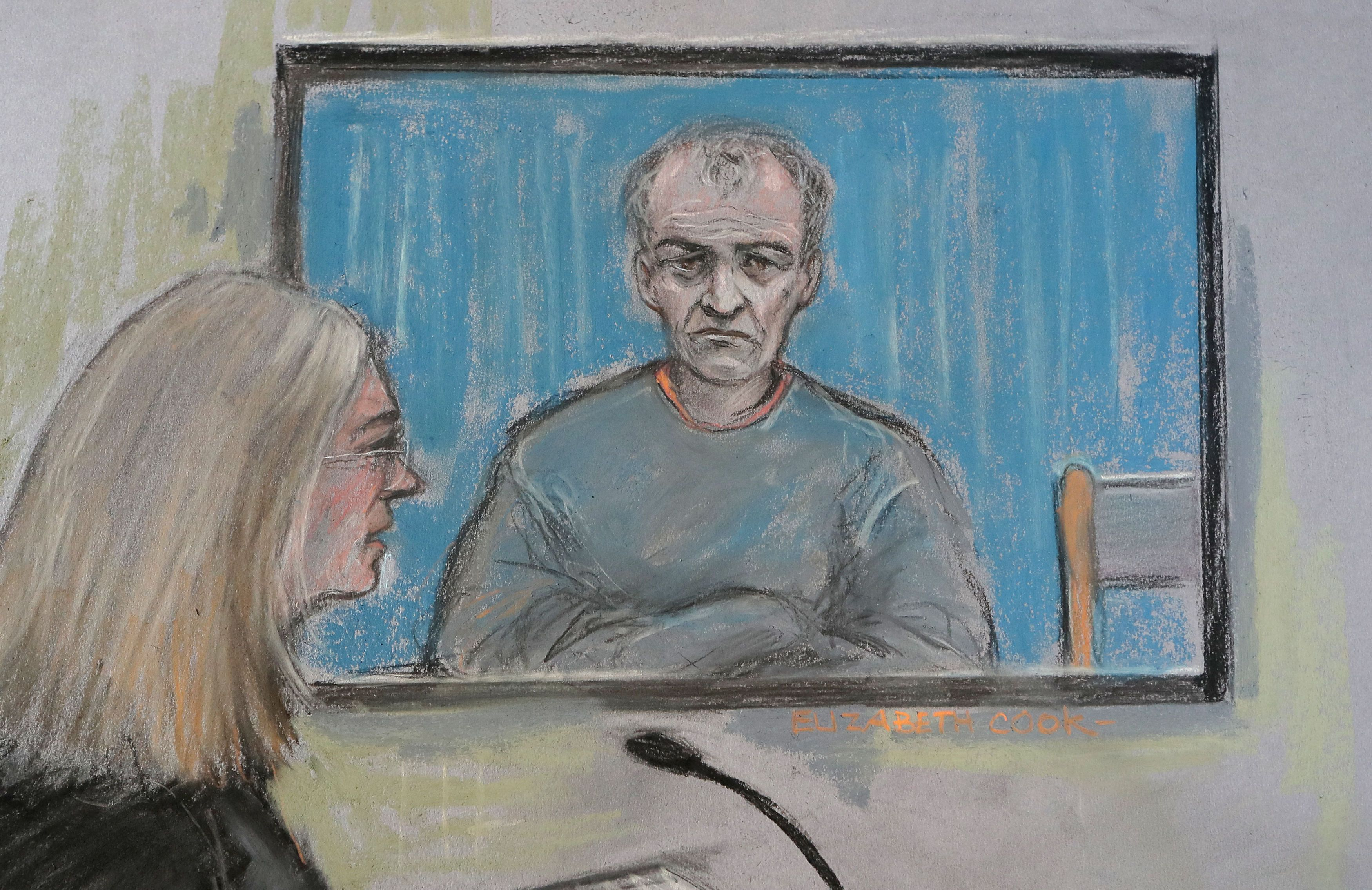 <strong>Court artist sketch of former football coach Barry Bennell appearing via video link.</strong>