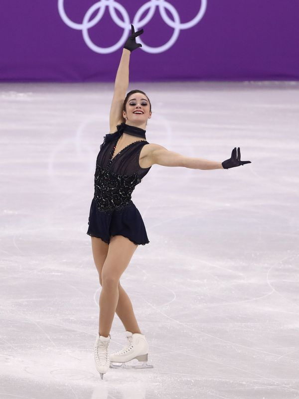 Performingduring the ladies short program as part of the figure skating team event at the 2018 Winter Olympics at the G