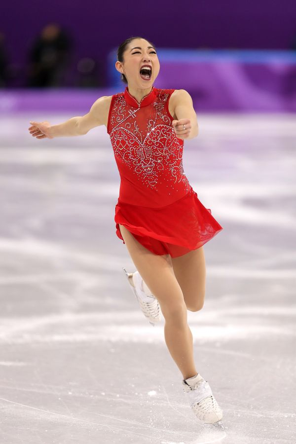 Nagasu of the United States reacts after her routine in thefigure skating team eventduring the2018 Winter O